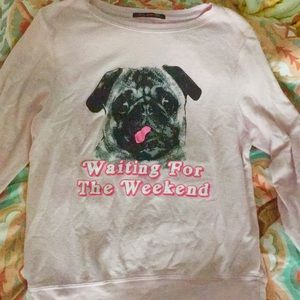 NWOT Small Wildfox Waiting for Weekend Pug Sweater